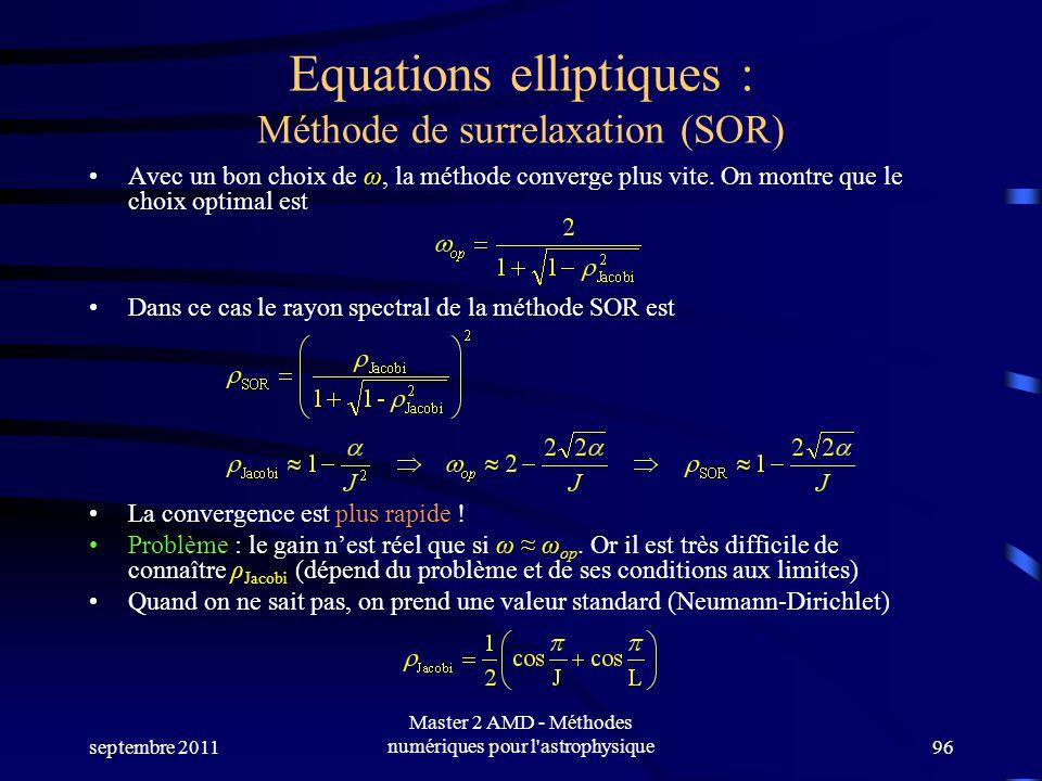 septembre 2011 Master 2 AMD - Méthodes numériques pour l astrophysique96 Equations elliptiques : Méthode de surrelaxation (SOR) Avec un bon choix de ω, la méthode converge plus vite.