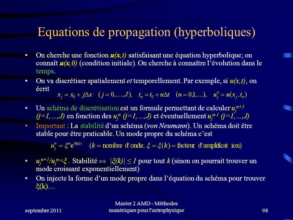 septembre 2011 Master 2 AMD - Méthodes numériques pour l astrophysique98 Equations de propagation (hyperboliques) On cherche une fonction u(x,t) satisfaisant une équation hyperbolique; on connaît u(x,0) (condition initiale).