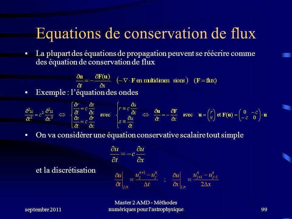 septembre 2011 Master 2 AMD - Méthodes numériques pour l astrophysique99 Equations de conservation de flux La plupart des équations de propagation peuvent se réécrire comme des équation de conservation de flux Exemple : léquation des ondes On va considérer une équation conservative scalaire tout simple et la discrétisation