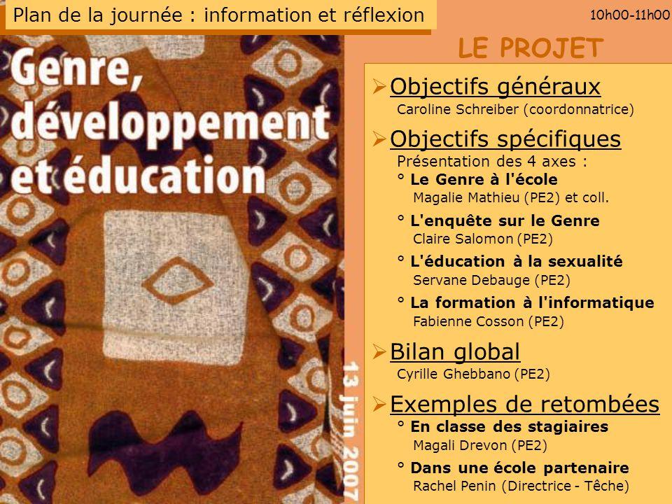 LE PROJET 10h00-11h00 Objectifs généraux Caroline Schreiber (coordonnatrice) Objectifs spécifiques Présentation des 4 axes : ° Le Genre à l'école Maga