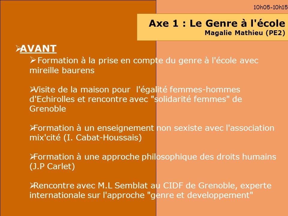 10h05-10h15 Axe 1 : Le Genre à l'école Magalie Mathieu (PE2) AVANT Formation à la prise en compte du genre à l'école avec mireille baurens Visite de l