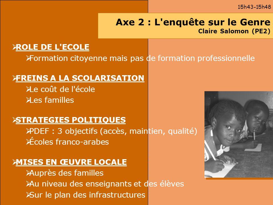 Axe 2 : L'enquête sur le Genre Claire Salomon (PE2) ROLE DE L'ECOLE Formation citoyenne mais pas de formation professionnelle FREINS A LA SCOLARISATIO