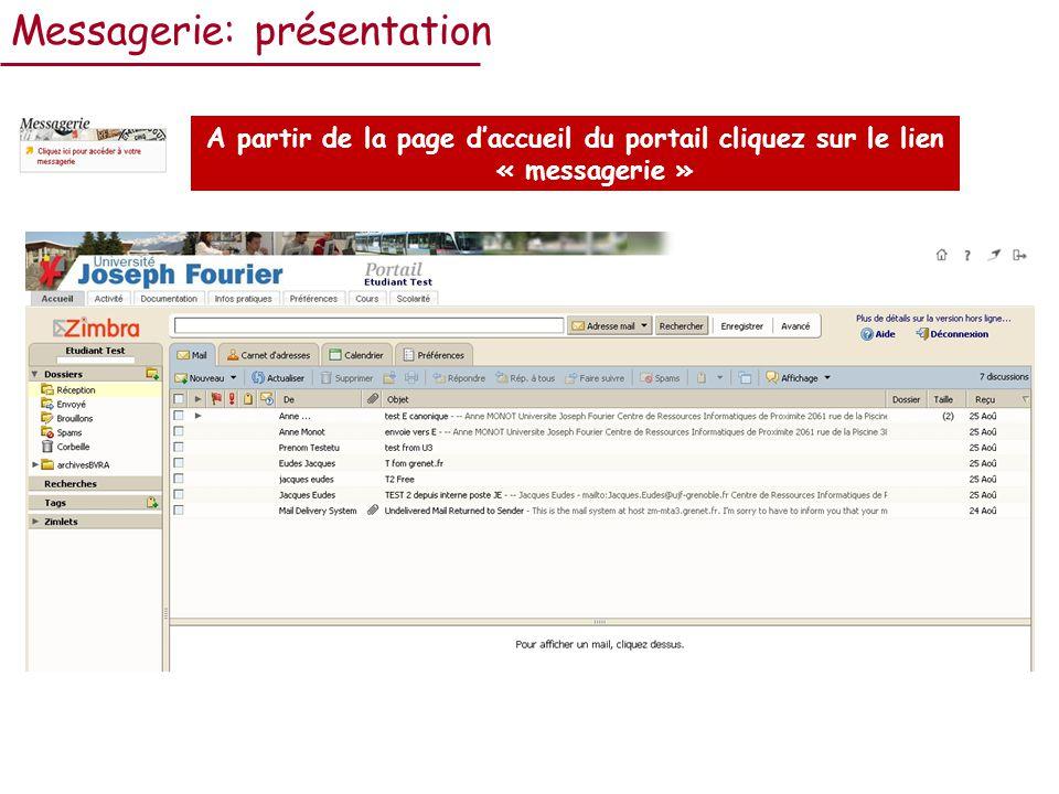 Messagerie: présentation A partir de la page daccueil du portail cliquez sur le lien « messagerie »