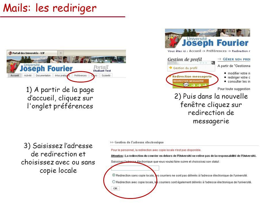 Mails: les rediriger 1) A partir de la page daccueil, cliquez sur l onglet préférences 2) Puis dans la nouvelle fenêtre cliquez sur redirection de messagerie 3) Saisissez ladresse de redirection et choisissez avec ou sans copie locale