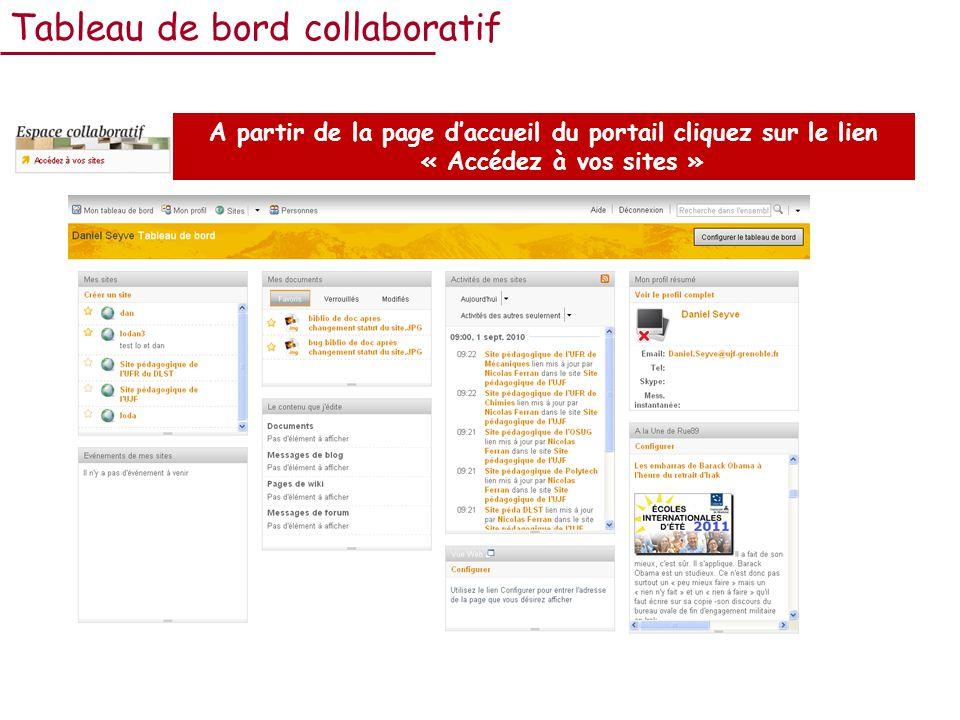 Tableau de bord collaboratif A partir de la page daccueil du portail cliquez sur le lien « Accédez à vos sites »