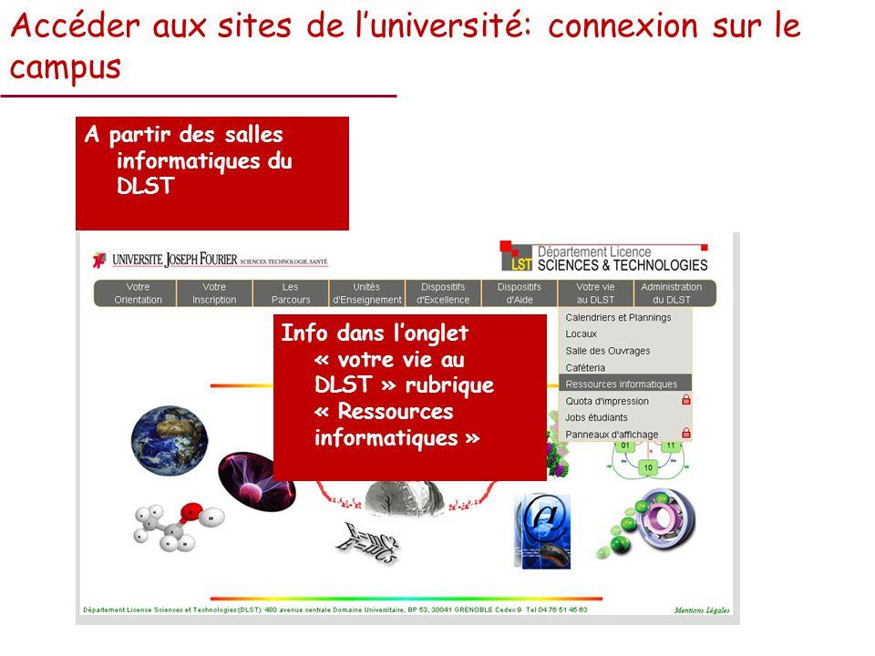 Accéder aux sites de luniversité: connexion sur le campus A partir des salles informatiques du DLST Info dans longlet « votre vie au DLST » rubrique « Ressources informatiques »
