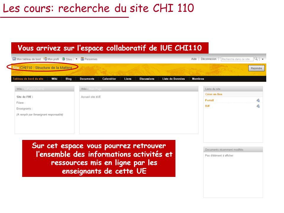 Les cours: recherche du site CHI 110 Vous arrivez sur lespace collaboratif de lUE CHI110 Sur cet espace vous pourrez retrouver lensemble des informations activités et ressources mis en ligne par les enseignants de cette UE