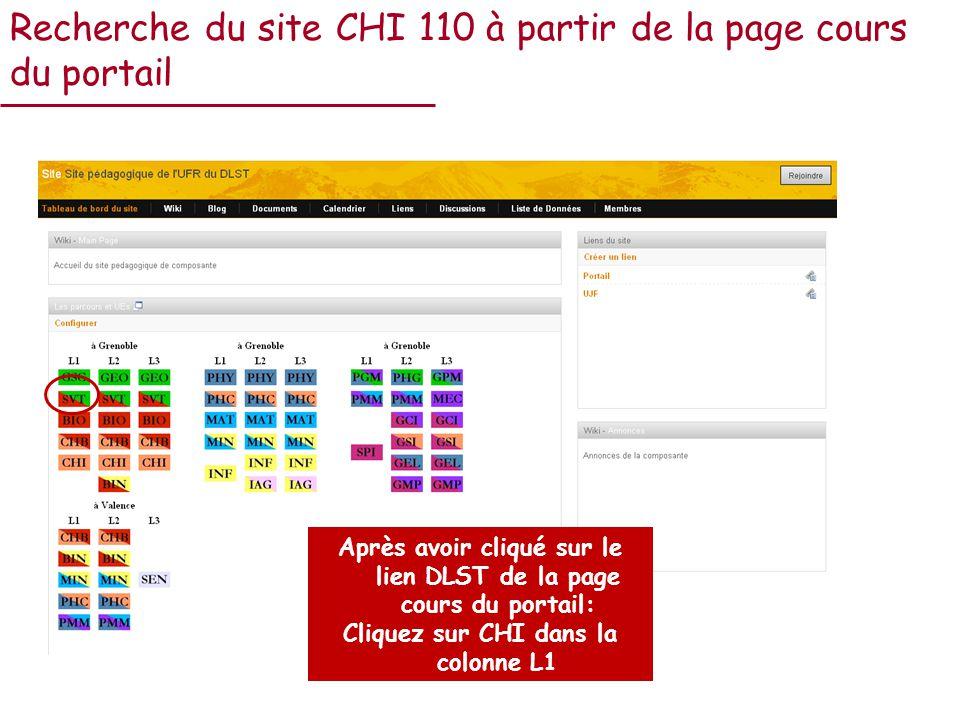 Recherche du site CHI 110 à partir de la page cours du portail Après avoir cliqué sur le lien DLST de la page cours du portail: Cliquez sur CHI dans la colonne L1