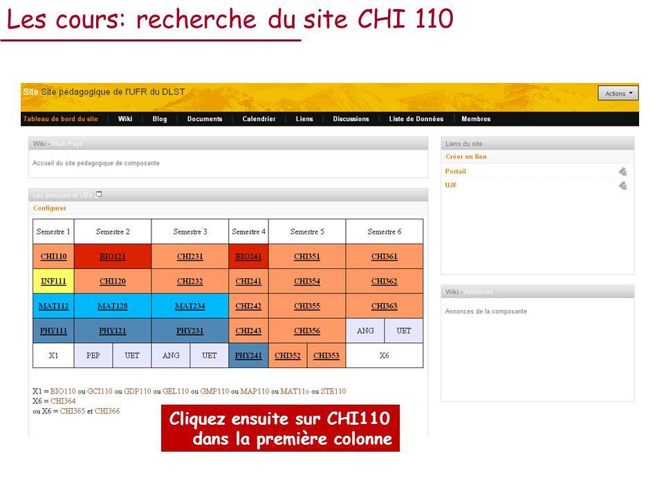 Cliquez ensuite sur CHI110 dans la première colonne Les cours: recherche du site CHI 110