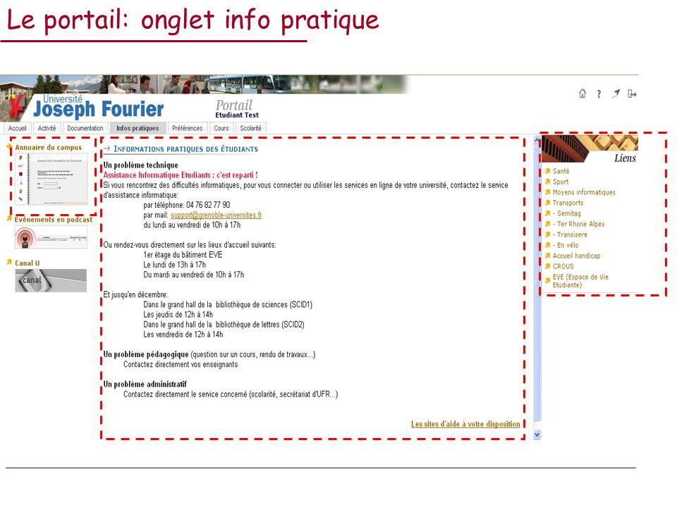 Le portail: onglet info pratique