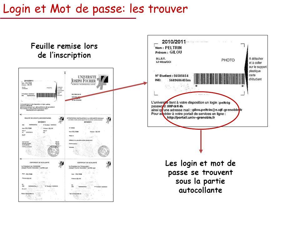 Login et Mot de passe: les trouver Feuille remise lors de linscription Les login et mot de passe se trouvent sous la partie autocollante