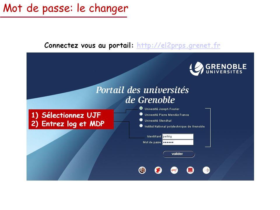 Mot de passe: le changer Connectez vous au portail: http://el2prps.grenet.frhttp://el2prps.grenet.fr 1)Sélectionnez UJF 2)Entrez log et MDP