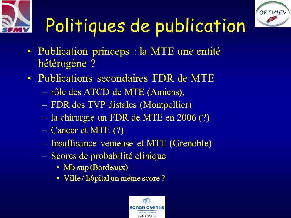 Politiques de publication Publications secondaires « évaluations » –Fiabilité du diagnostic délimination de la MTE (?) –Rapport bénéfice / risque des anticoagulants selon le type de MTE (?) –Prise en charge des TVS (?) –Anti-agrégants plaquettaires, statines et MTE (?)