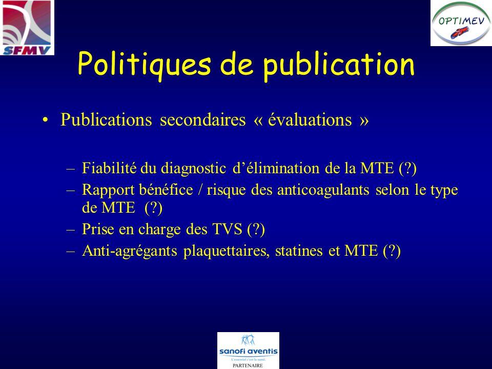 Politiques de publication Publications secondaires « évaluations » –Fiabilité du diagnostic délimination de la MTE (?) –Rapport bénéfice / risque des