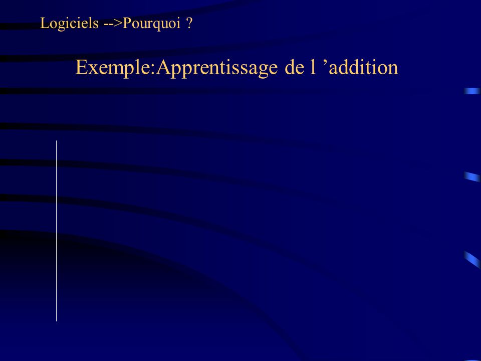 Exemple:Apprentissage de l addition Logiciels -->Pourquoi