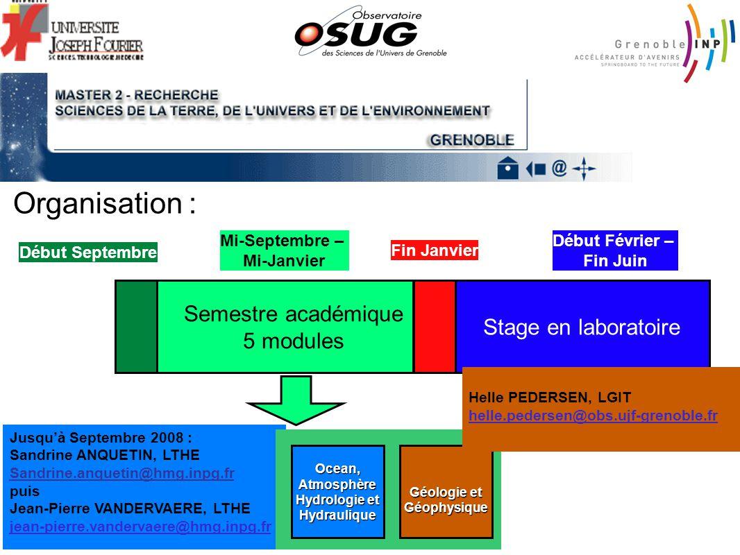 Organisation : Semestre académique 5 modules Stage en laboratoire Début Septembre Mi-Septembre – Mi-Janvier Fin Janvier Début Février – Fin Juin Jusqu