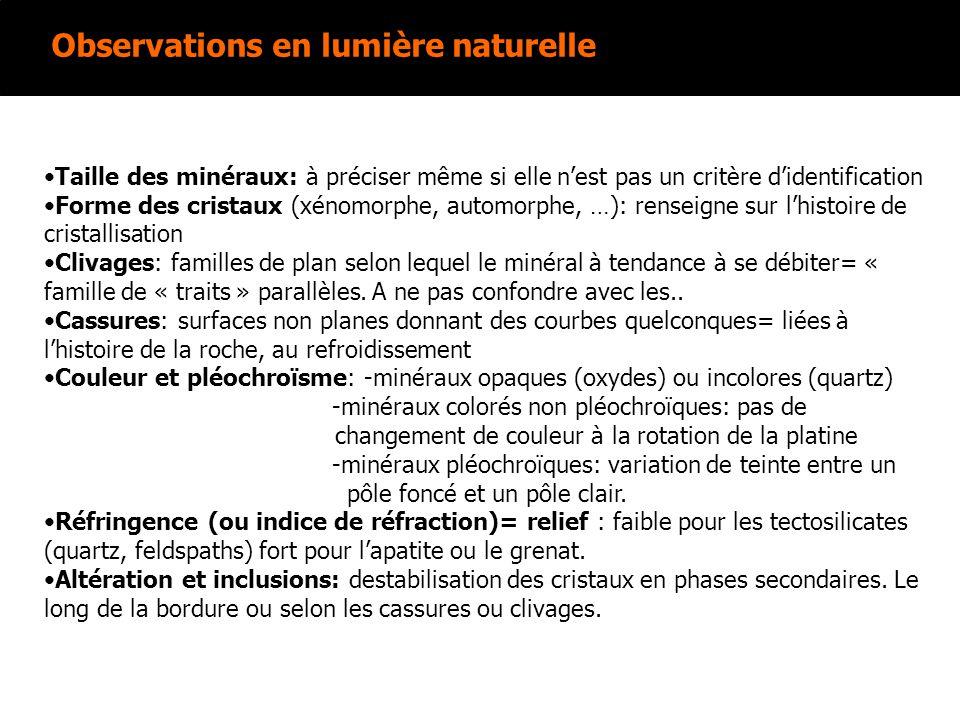 Observations en lumière naturelle Taille des minéraux: à préciser même si elle nest pas un critère didentification Forme des cristaux (xénomorphe, aut