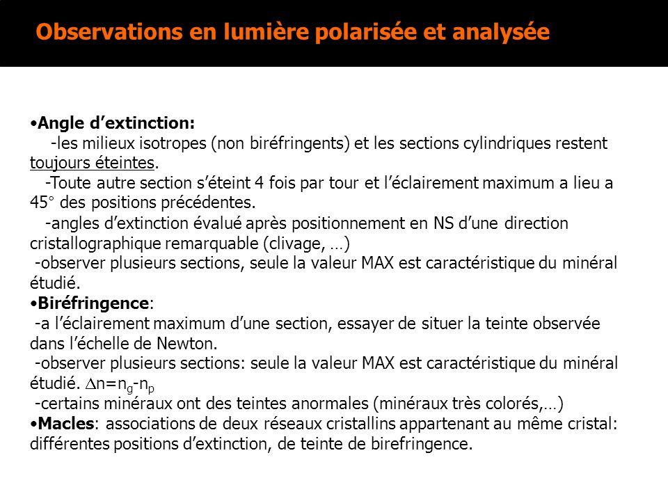 Observations en lumière polarisée et analysée Angle dextinction: -les milieux isotropes (non biréfringents) et les sections cylindriques restent toujo