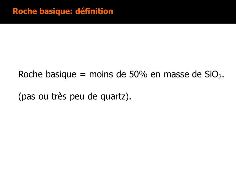 Roche basique: définition Roche basique = moins de 50% en masse de SiO 2. (pas ou très peu de quartz).