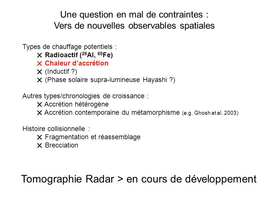 Types de chauffage potentiels : Radioactif ( 26 Al, 60 Fe) Chaleur daccrétion (Inductif ?) (Phase solaire supra-lumineuse Hayashi ?) Autres types/chro