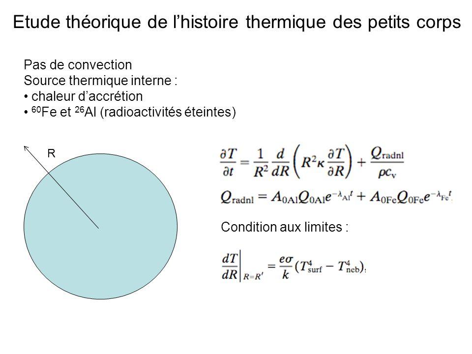 Etude théorique de lhistoire thermique des petits corps Pas de convection Source thermique interne : chaleur daccrétion 60 Fe et 26 Al (radioactivités