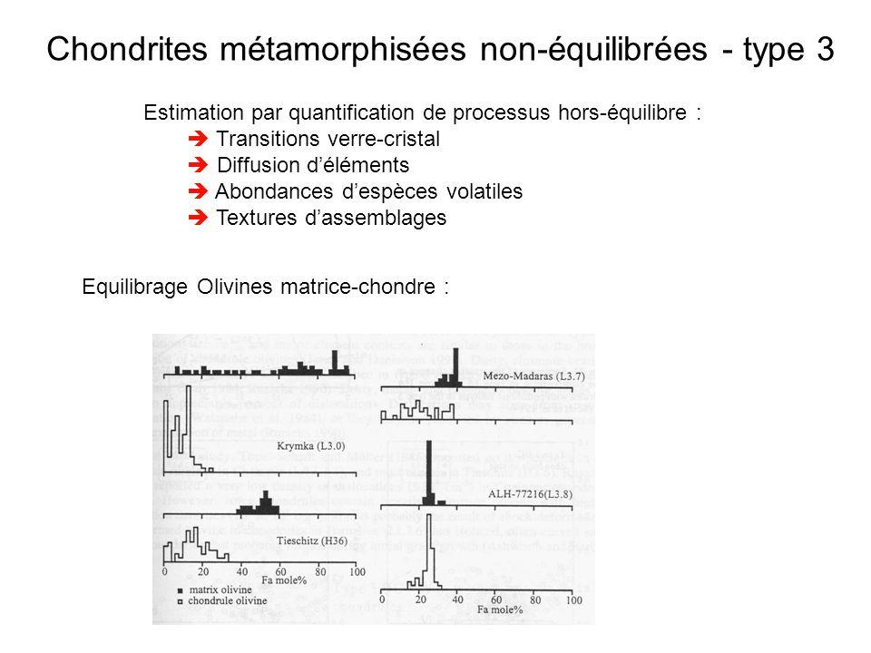 Chondrites métamorphisées non-équilibrées - type 3 Estimation par quantification de processus hors-équilibre : Transitions verre-cristal Diffusion dél
