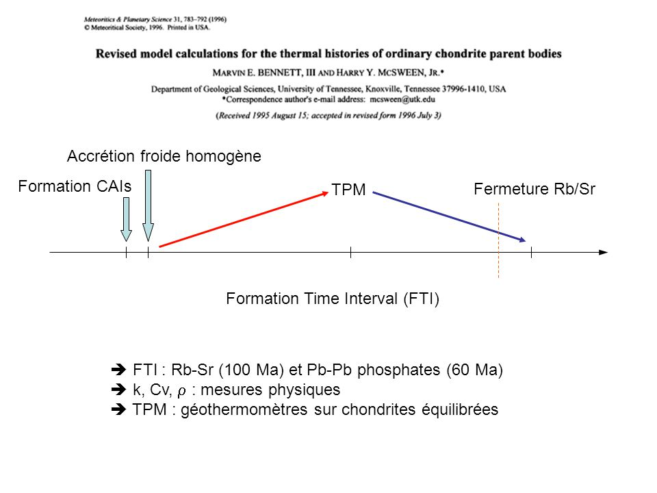 Accrétion froide homogène Formation Time Interval (FTI) Formation CAIs FTI : Rb-Sr (100 Ma) et Pb-Pb phosphates (60 Ma) k, Cv, : mesures physiques TPM