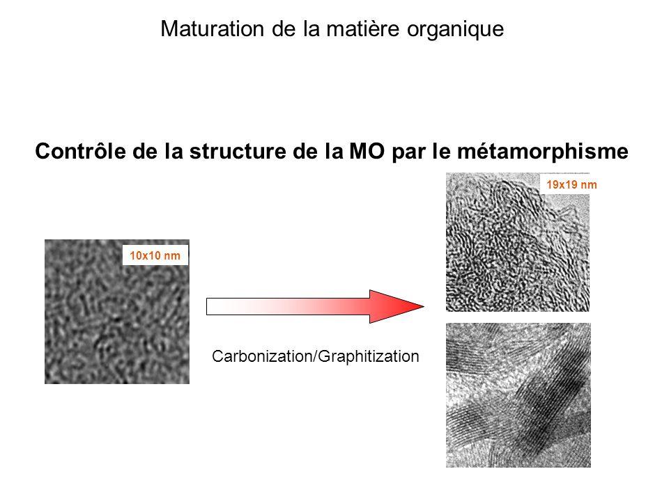 Maturation de la matière organique Contrôle de la structure de la MO par le métamorphisme 10x10 nm 19x19 nm Carbonization/Graphitization
