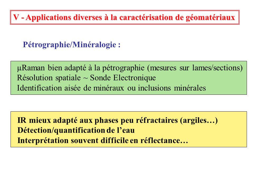 Pétrographie/Minéralogie : µRaman bien adapté à la pétrographie (mesures sur lames/sections) Résolution spatiale ~ Sonde Electronique Identification a