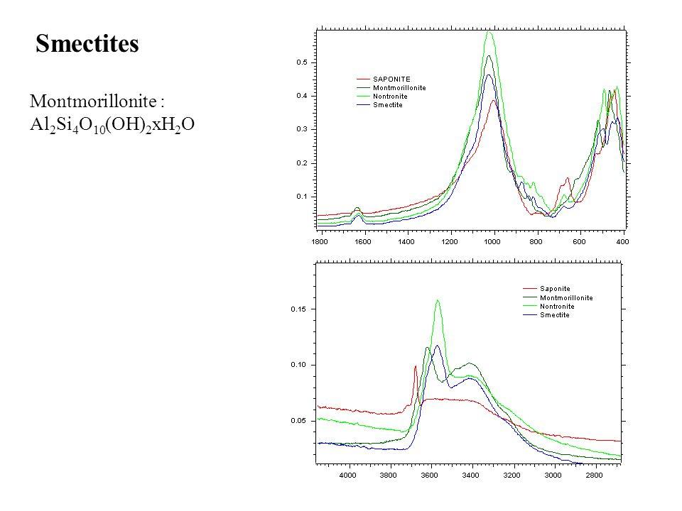 Smectites Montmorillonite : Al 2 Si 4 O 10 (OH) 2 xH 2 O