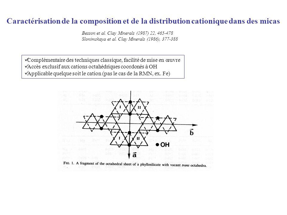 Caractérisation de la composition et de la distribution cationique dans des micas Besson et al. Clay Minerals (1987) 22, 465-478 Slonimskaya et al. Cl