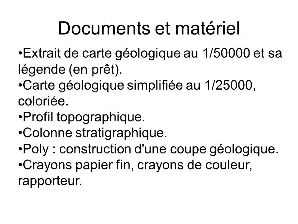 Documents et matériel Extrait de carte géologique au 1/50000 et sa légende (en prêt). Carte géologique simplifiée au 1/25000, coloriée. Profil topogra