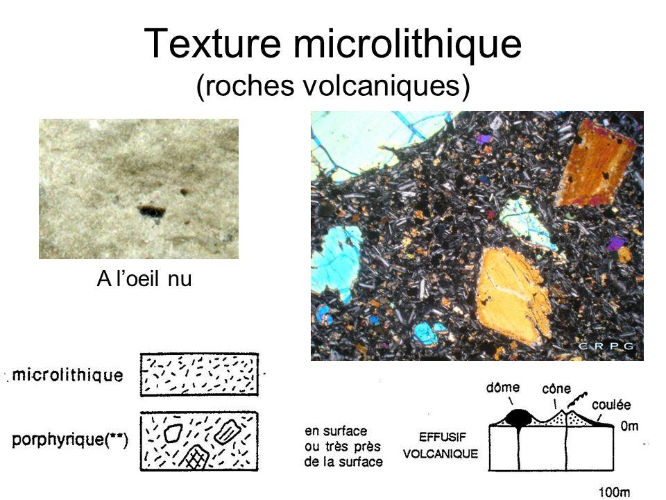 Texture microlithique (roches volcaniques) Au microscope polarisant A loeil nu