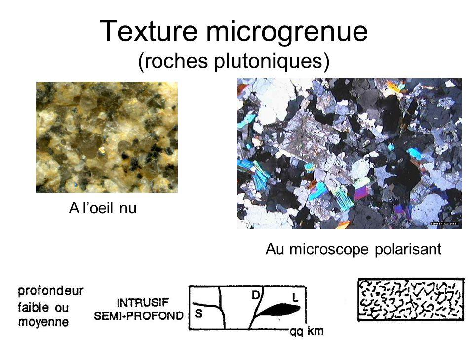 Texture microgrenue (roches plutoniques) Au microscope polarisant A loeil nu