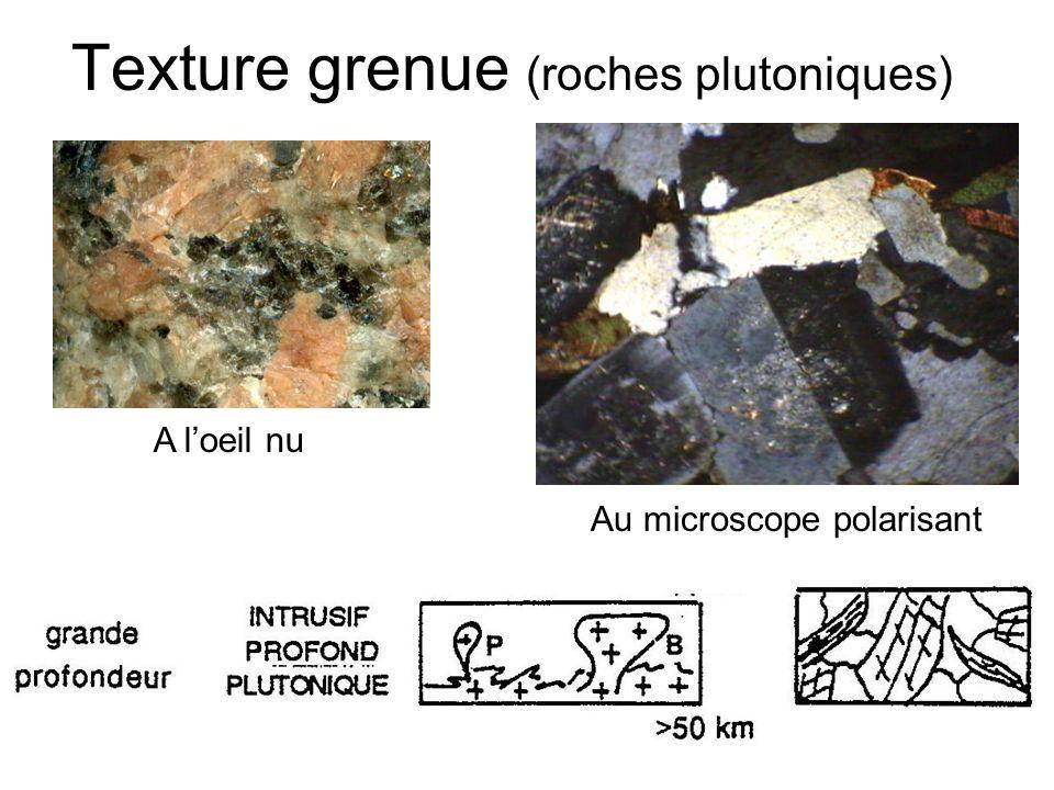 Texture grenue (roches plutoniques) Au microscope polarisant A loeil nu