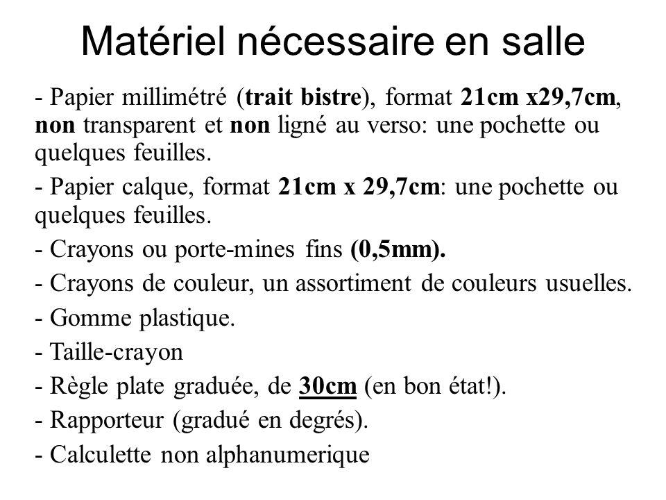 Matériel nécessaire en salle - Papier millimétré (trait bistre), format 21cm x29,7cm, non transparent et non ligné au verso: une pochette ou quelques feuilles.