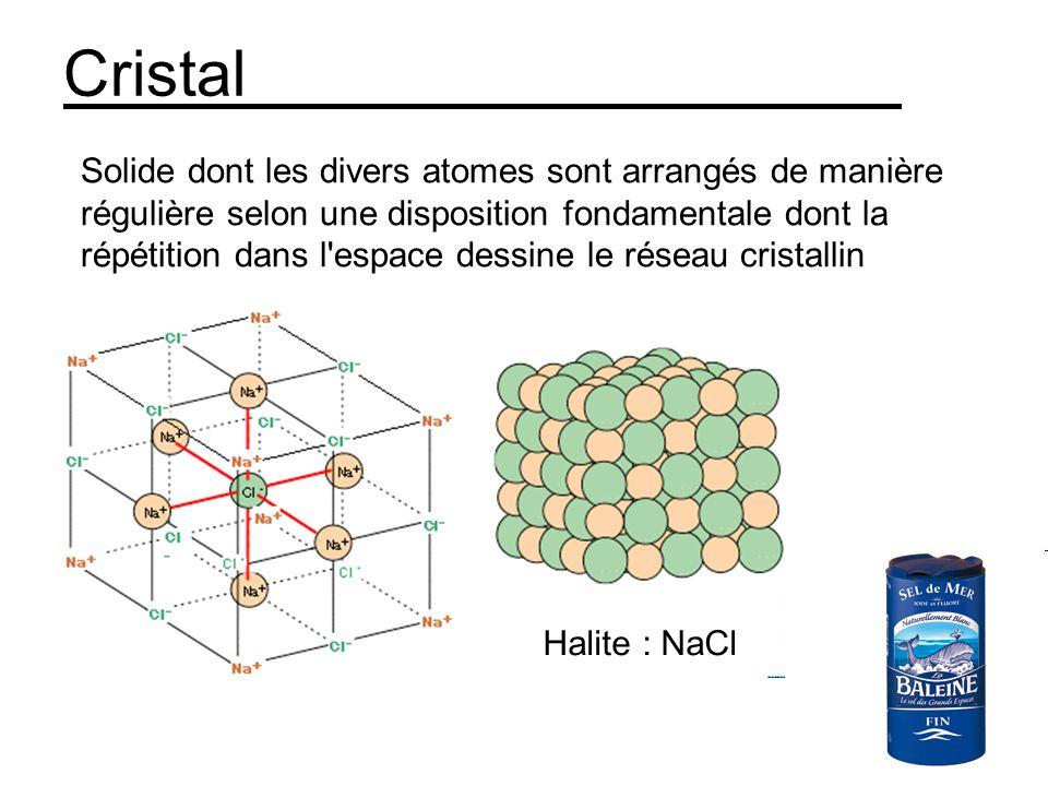 Cristal Solide dont les divers atomes sont arrangés de manière régulière selon une disposition fondamentale dont la répétition dans l espace dessine le réseau cristallin Halite : NaCl