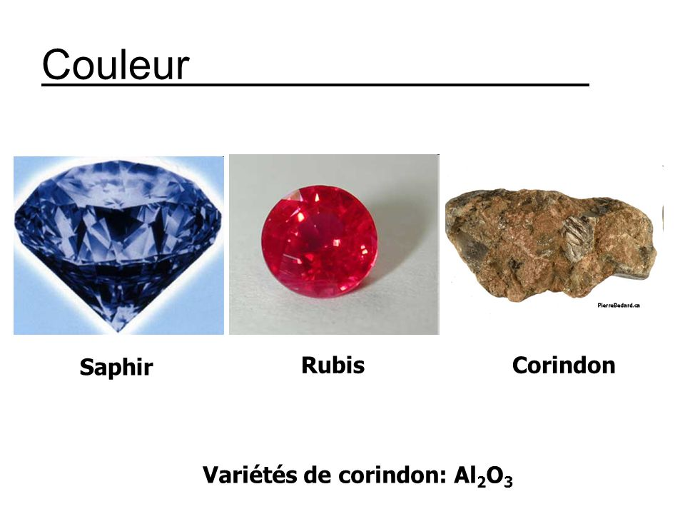 Variétés de corindon: Al 2 O 3 Couleur Saphir RubisCorindon
