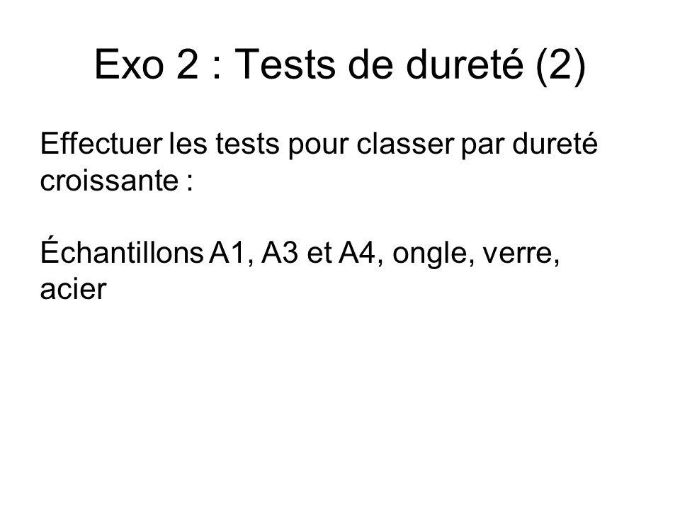 Exo 2 : Tests de dureté (2) Effectuer les tests pour classer par dureté croissante : Échantillons A1, A3 et A4, ongle, verre, acier