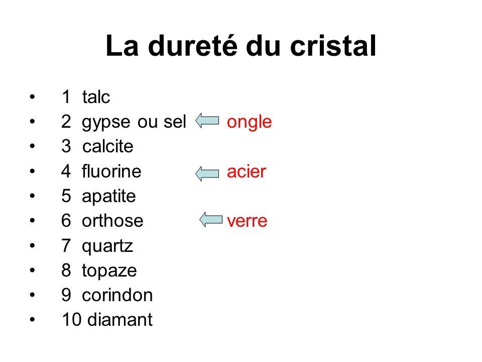 La dureté du cristal 1 talc 2 gypse ou sel ongle 3 calcite 4 fluorine acier 5 apatite 6 orthose verre 7 quartz 8 topaze 9 corindon 10 diamant