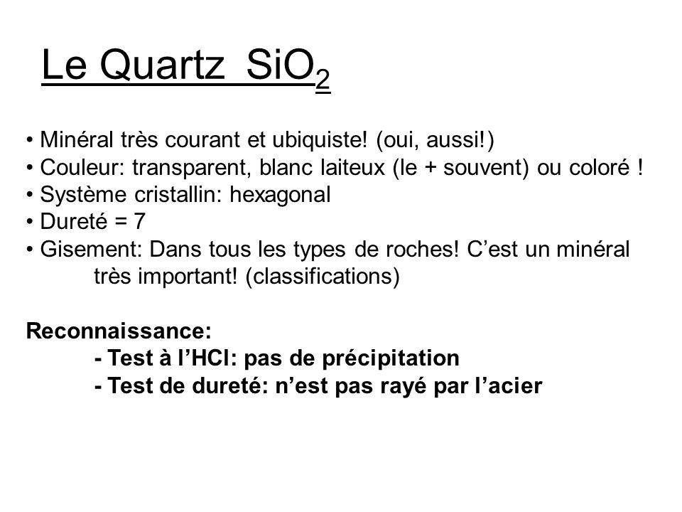 Le QuartzSiO 2 Minéral très courant et ubiquiste.