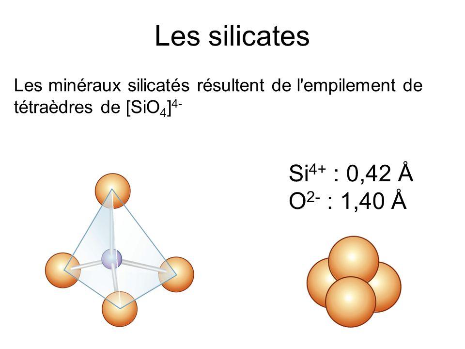 Les silicates Les minéraux silicatés résultent de l empilement de tétraèdres de [SiO 4 ] 4- Si 4+ : 0,42 Å O 2- : 1,40 Å