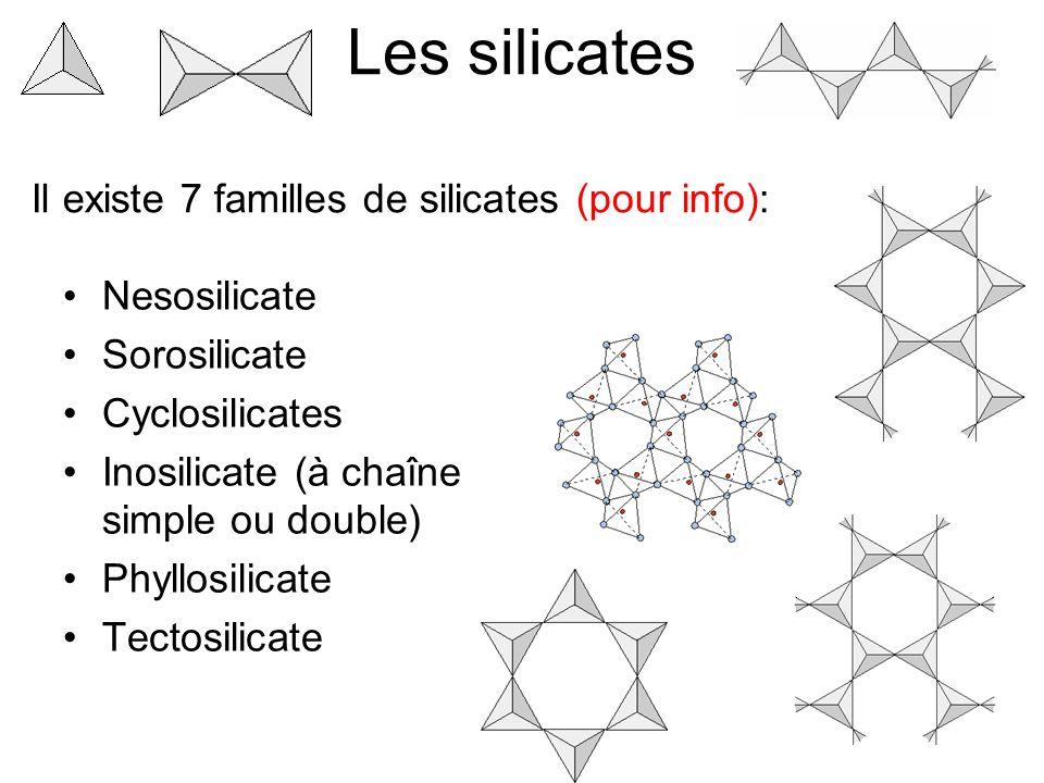 Les silicates Nesosilicate Sorosilicate Cyclosilicates Inosilicate (à chaîne simple ou double) Phyllosilicate Tectosilicate Il existe 7 familles de silicates (pour info):