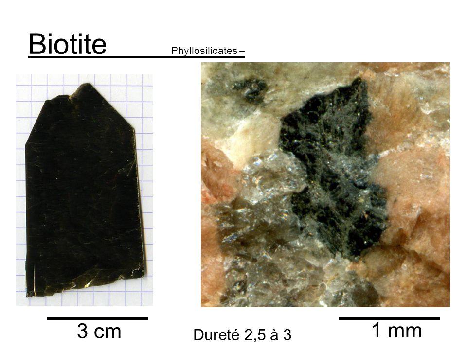 Biotite Phyllosilicates – 3 cm 1 mm Dureté 2,5 à 3