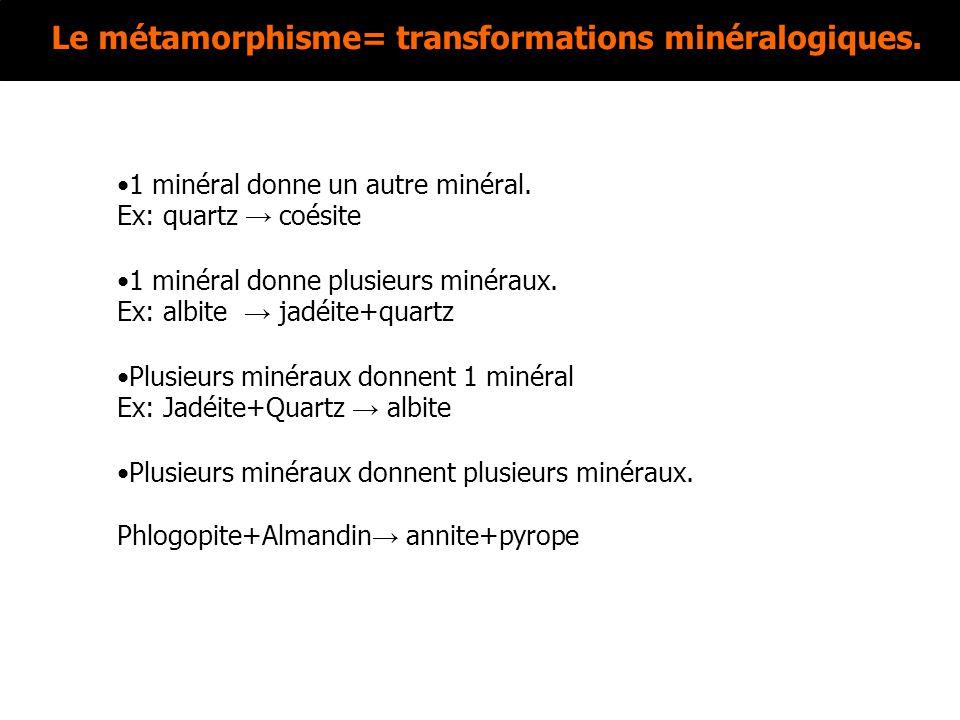 Le métamorphisme= transformations minéralogiques. 1 minéral donne un autre minéral. Ex: quartz coésite 1 minéral donne plusieurs minéraux. Ex: albite