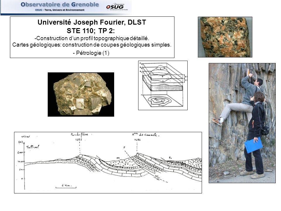 Université Joseph Fourier, DLST STE 110; TP 2: -Construction dun profil topographique détaillé. Cartes géologiques: construction de coupes géologiques