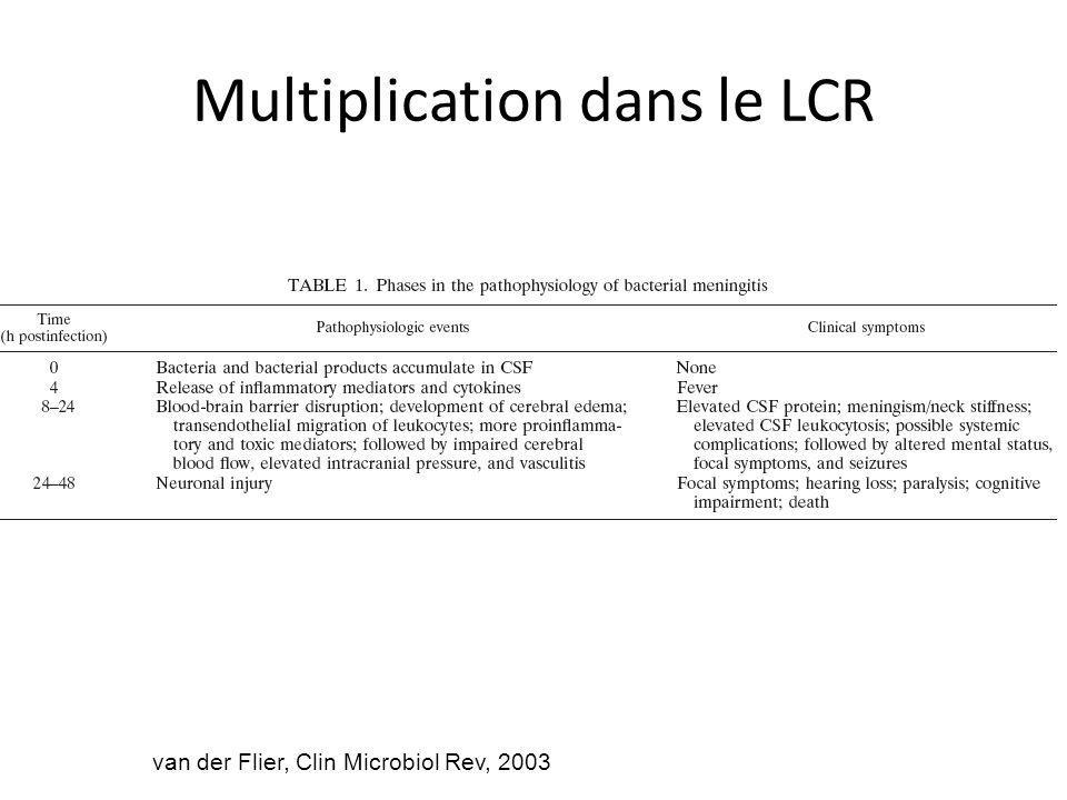 Multiplication dans le LCR van der Flier, Clin Microbiol Rev, 2003
