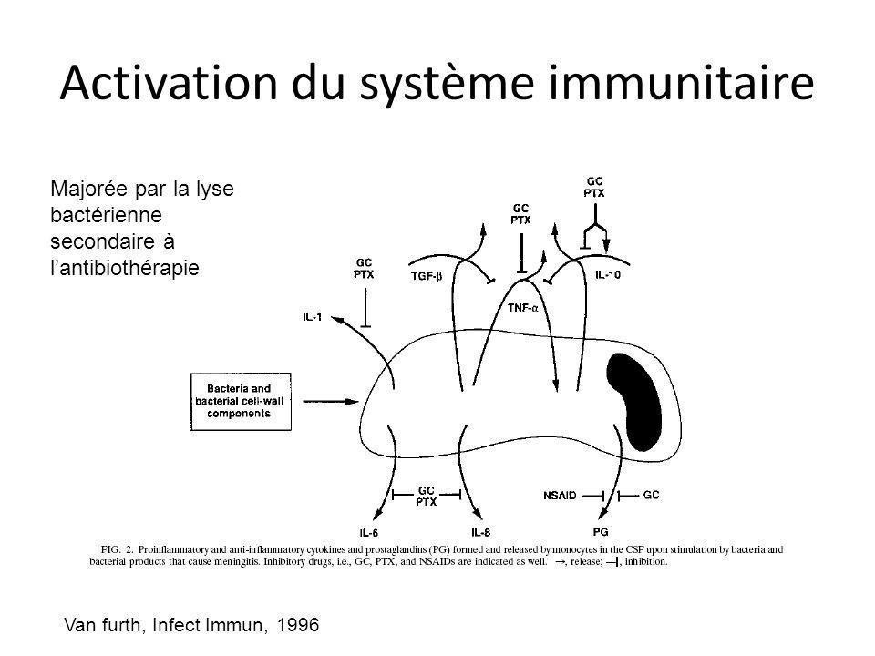 Activation du système immunitaire Van furth, Infect Immun, 1996 Majorée par la lyse bactérienne secondaire à lantibiothérapie