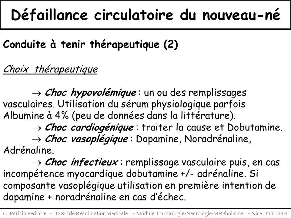 Défaillance circulatoire du nouveau-né Conduite à tenir thérapeutique (2) Choix thérapeutique Choc hypovolémique : un ou des remplissages vasculaires.