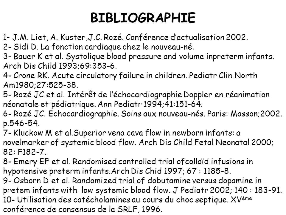 BIBLIOGRAPHIE 1- J.M. Liet, A. Kuster,J.C. Rozé. Conférence dactualisation 2002. 2- Sidi D. La fonction cardiaque chez le nouveau-né. 3- Bauer K et al